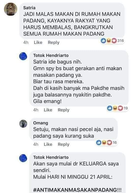 Pendukung 01Boikot Nasi Padang, Orang Minang : Lengkuas dikasih Bumbu Padang aja Loe demen