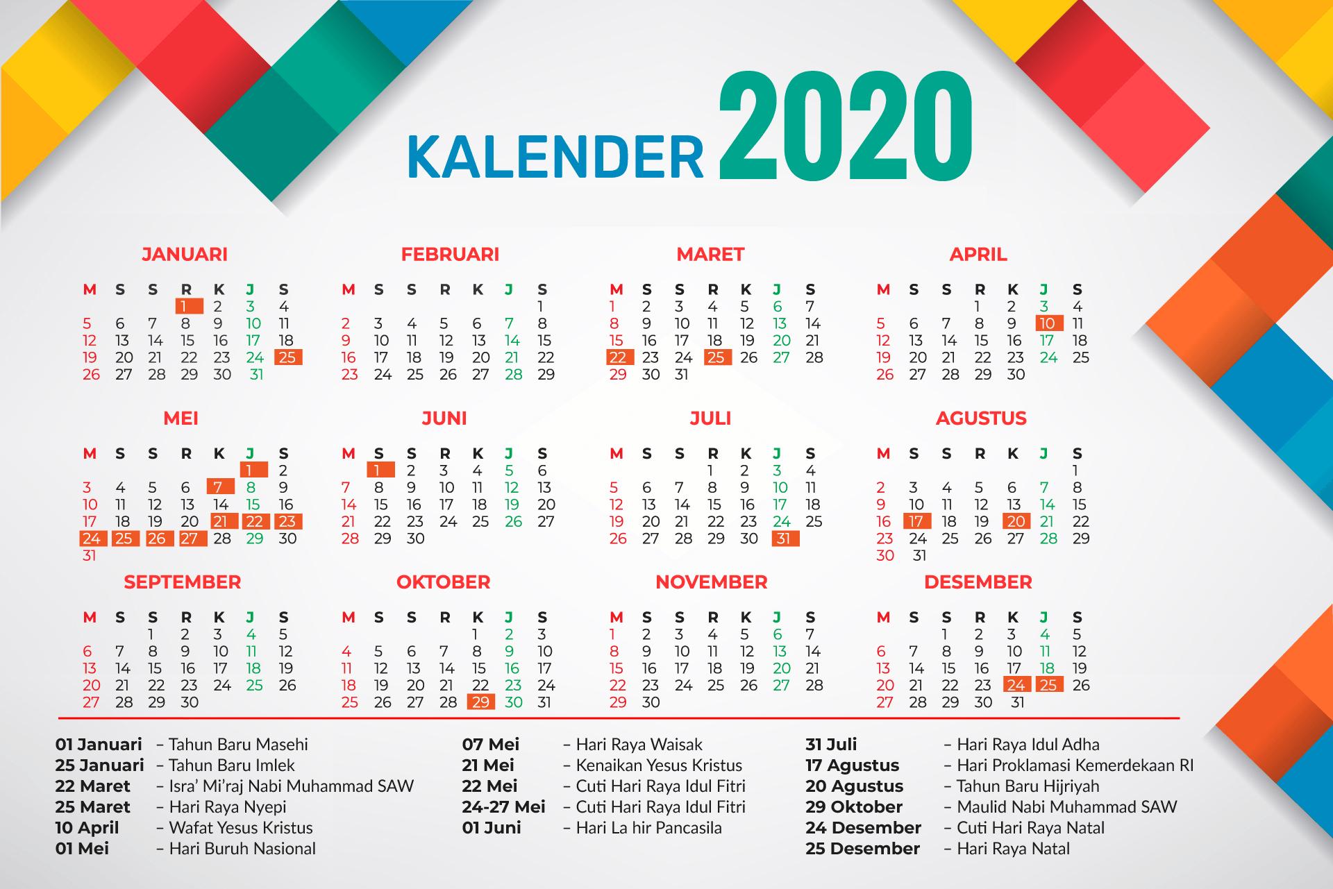 Download Kalender 2020 Indonesia Lengkap Dengan Hari Libur Nasional