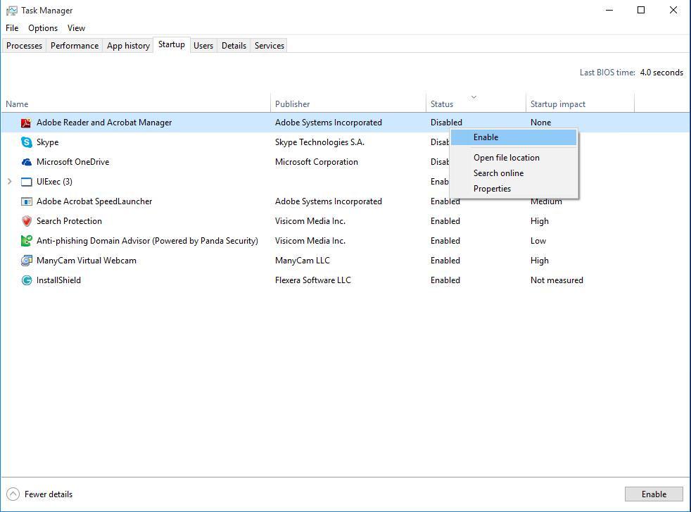 Mempercepat Windows Disable starup apps windows 10